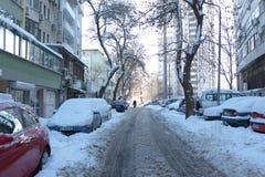 Rue couverte de neige, voitures bloquées Photographie stock libre de droits