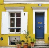 Rue crémieux. The yellow house stock images
