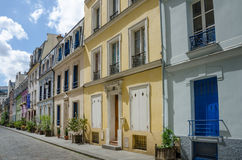 Rue Cremieux is one of the prettiest residential streets in Paris Royalty Free Stock Images
