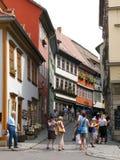 Rue d'achats à Erfurt, Allemagne Photos libres de droits