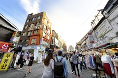 Rue d'achats de Hongdae : Corée Photo libre de droits