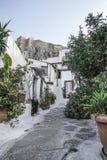 Rue d'Anafiotika dans la vieille ville d'Athènes en Grèce Photos libres de droits