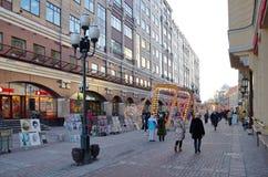 Rue d'Arbat en jours de fête du ` un s de nouvelle année, Moscou, Russie photographie stock