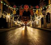 Rue D`Argens at Night. A street decorated to celebrate the local feast of St. Joseph Royalty Free Stock Photography