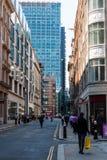 Rue d'Eldon dans Moorgate, Londres Images libres de droits