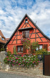 Rue dans Bergheim, Alsace, France Image stock