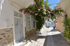 Rue dans Ermoupoli Syros, Grèce Images stock