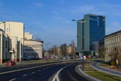 Rue dans la ville de Lodz, Pologne Images libres de droits