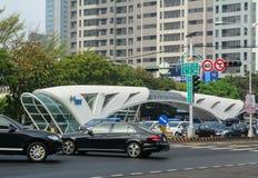 Rue dans la ville de Taichung, Taïwan image libre de droits