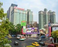 Rue dans la ville de Taichung, Taïwan images libres de droits