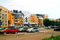Rue de Baltrusaicio à Vilnius au temps de soirée Images stock