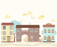 Rue de bande dessinée avec des maisons, nuages, arbres Images stock