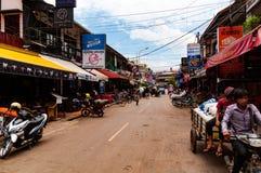 Rue de bar dans Siem Reap, Cambodge, Indochine pendant la journée image libre de droits