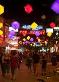 Rue de bar de nuit dans Siem Reap, Cambodge Photos stock