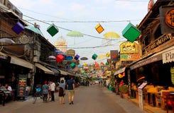Rue de bar le coeur du secteur de touristes Siem Reap images stock