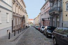 Rue de Bednarska dans Watsaw, Pologne Photo stock