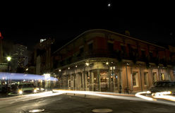 Rue de Bourbon la nuit Photo stock