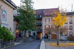 Old medieval road to the castle in Gruyeres, Switzerland in autumn. royalty free stock photo