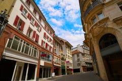 Rue de bourg de rue de Lausanne en Suisse photographie stock