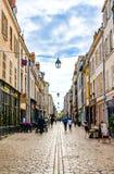 Rue de Bourgogne in Orleans, France. Orleans, France - June 1, 2018: Pedestrian Borgogne Street Rue de Bourgogne full of restaurants in the center of Orleans Stock Photography
