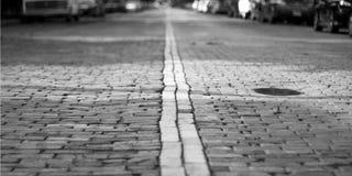 Rue de brique de pavé rond Photographie stock