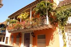 Rue de Carthagène de Indias. La Colombie Photos stock