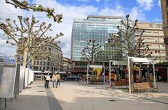Rue de Chantepoulet στη Γενεύη, Ελβετία Στοκ Εικόνες