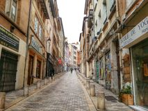 Rue de croix rousse, Lyon old town, France Royalty Free Stock Photo