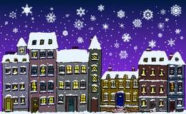 Rue de flocons de neige de nuit Photo stock