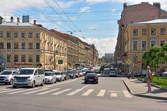 Rue de Gorokhovaya dans le St Petersbourg, Russie Image libre de droits