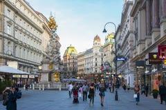 Rue de Graben et colonne de peste au centre de Vienne, Autriche photographie stock