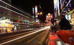 Rue de Hong Kong par nuit Image stock