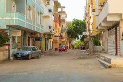Rue de Hurghada au coucher du soleil, Egypte Photographie stock libre de droits