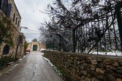 Rue de Jérusalem dans la neige Photo libre de droits