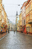 Rue de Kobylianska dans Chernivtsi Photo stock