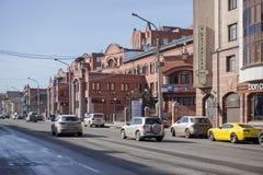 Rue de Lénine avec des voitures sur la chaussée images libres de droits