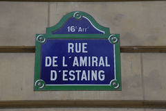 Rue de L Amiral D'estaing honoring Franco American Relationship during Revolutionary War  - shot August 2015 Stock Photos