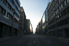 Rue de la Loi in Brussels with no car and no people with sunset, Stock Photography