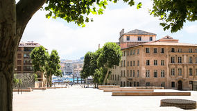 Rue de la Mairie in Marseilles city. Travel to Provence, France - view of old port through Rue de la Mairie in Marseilles city Stock Photo