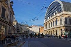 Rue de la République und das Opernhaus von Lyon Stockbild