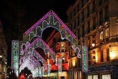 Rue de la Republique während des Festivals der Leuchten Stockfotografie