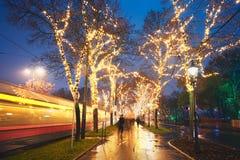 rue 2008 de la Roumanie de décoration de décembre de Noël de caransebes Photographie stock libre de droits