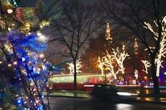 rue 2008 de la Roumanie de décoration de décembre de Noël de caransebes Images libres de droits