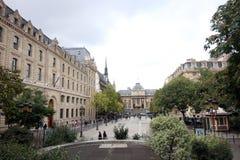 Rue de Lutece Paris Frankrike royaltyfri bild