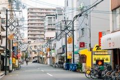 Rue de magasin et de restaurant de Shinsekai à Osaka, Japon photographie stock libre de droits