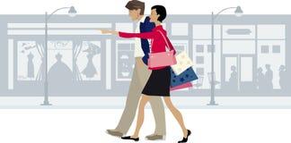 Rue de marche de ville de couples Images libres de droits