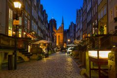 Rue de Mariacka dans la vieille ville de Danzig Image stock