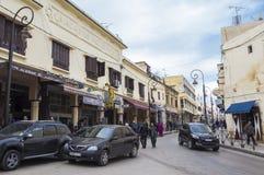 Rue de Meknes, Maroc Photos stock