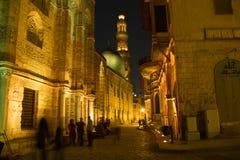 Rue de Moez, la nuit Image stock