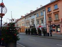 Rue de Nowy Swiat décorée pour Noël pendant le matin Photo stock